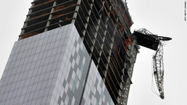 NYC Crane crippled by Sandy