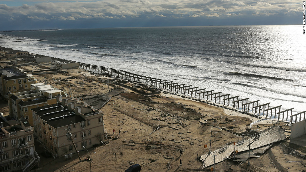 The foundations to the historic Rockaway boardwalk in Brooklyn are all that remain after it was washed away Wednesday during Hurricane Sandy.