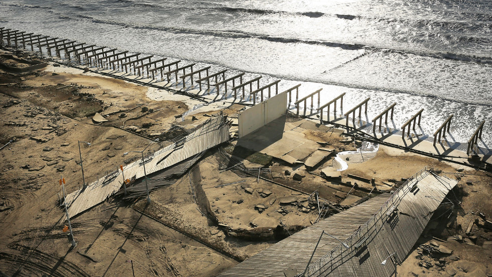 Superstorm Sandy stripped New York's historic Rockaway boardwalk down to its foundation.