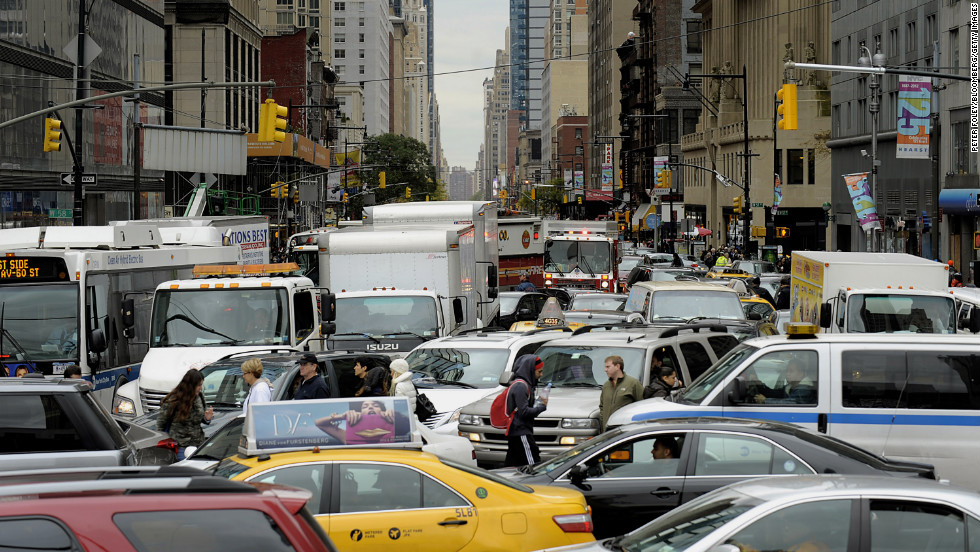 Traffic snarls in New York City on Wednesday. Residents and businesses across the Eastern Seaboard are attempting to return to their daily lives in the aftermath of Superstorm Sandy.
