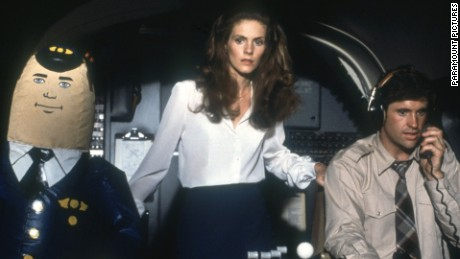 """""""Airplane!"""" turns the disaster drama inside-out, playing it as an over-the-top comedy, complete with blow-up dolls and jive."""
