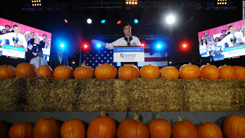 Republican presidential candidate Mitt Romney holds a campaign rally on Halloween at Metropolitan Park in Jacksonville, Florida, on Wednesday, October 31.