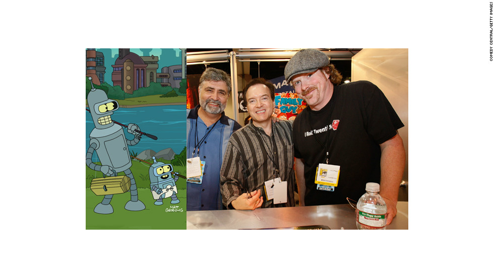 "These guys are responsible for some of the most enduring animated characters on television today. From Fox to Comedy Central, ""Futurama"" - now in its final season - has kept audiences rolling. Meet, from left to right, Maurice LaMarche (Kif Kroker), Billy West (Fry, Professor Farnsworth, Dr. Zoidberg), and John DiMaggio (Bender)."