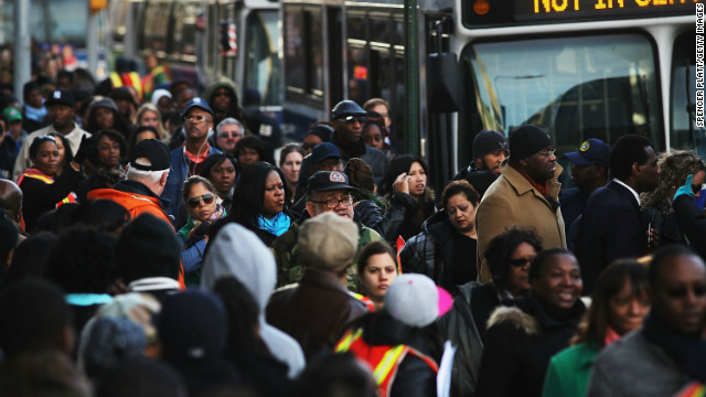 In Brooklyn this morning, thousands waited to board city buses into Manhattan.
