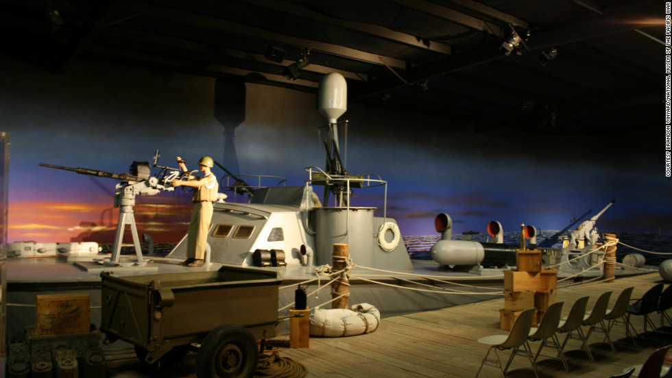 There are only two wooden PT boats currently on display in the U.S. that saw action during WWII. This is one of them, according to the museum. The exhibit offers an idea of what it was like for a PT boat crew to prepare for a night patrol.