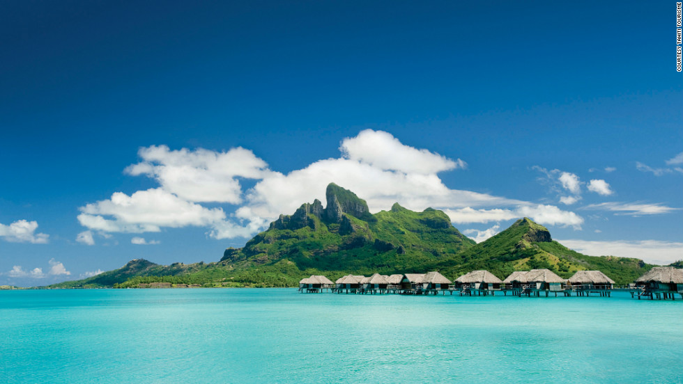 Far-flung Tahiti offers some of the world's most stunning scenery, which can be enjoyed serenely from an overwater bungalow.