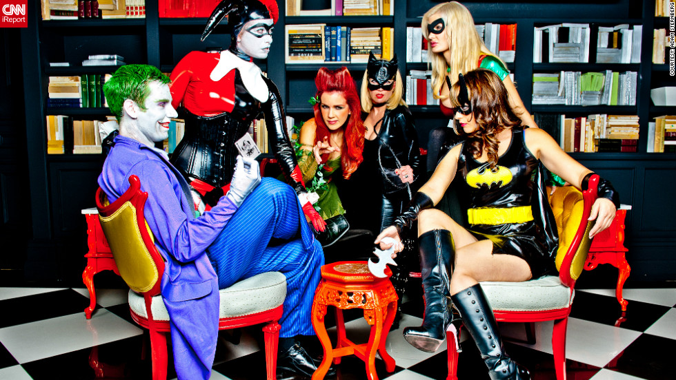 "Just in time for Halloween, <a href=""http://ireport.cnn.com/docs/DOC-869368"" target=""_blank"">iReporter Adam Sternberg </a>arranged for this Gotham City reunion in Las Vegas. Playing cards with the Joker are (left to right) Harley Quinn, Poison Ivy, Cat Woman, Robin and BatGirl. ""We put a lot of work into making this shot happen and we're really happy with the results,"" Sternberg says."