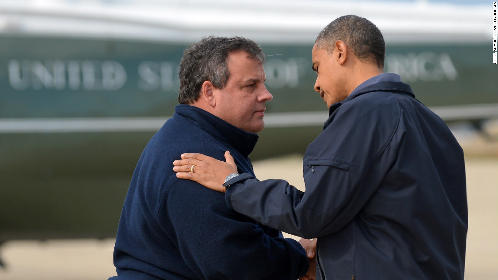 President Obama is greeted by Gov. Christie upon arriving in Atlantic City to visit areas hardest hit by Sandy.