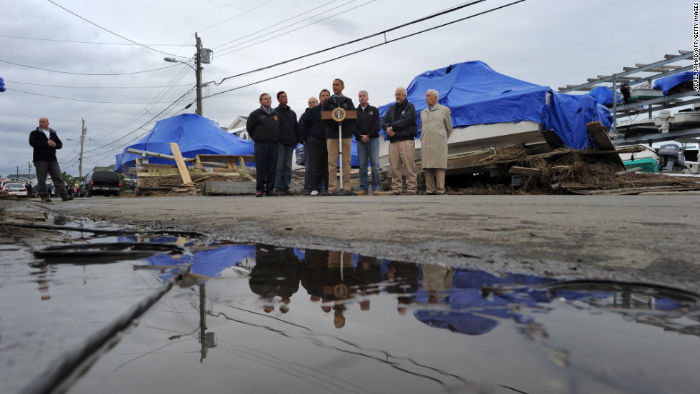 President Obama, addressing reporters in Brigantine after touring damaged areas of the state with New Jersey Gov. Chris Christie, said he's directed his staff members and people in his administration to tolerate no red tape or bureaucratic excuses when it comes to getting storm victims the help they need.