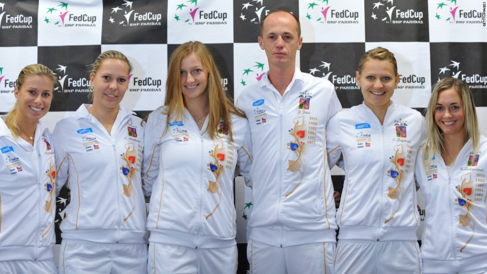 Czech Republic's Andrea Hlavackova, Lucie Hradecka, Petra Kvitova, captain Petr Pala, Lucie Safarova and Klara Zakopalova are bidding to win the country's second consecutive title following last year's 3-2 win over Russia.