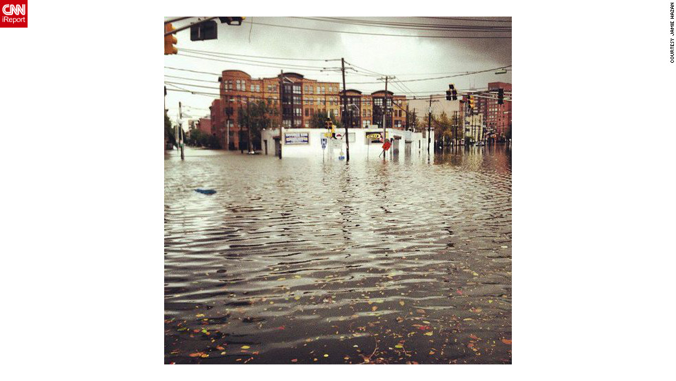 An intersection in Jersey City is washed out, a day after Sandy's landfall in New Jersey.