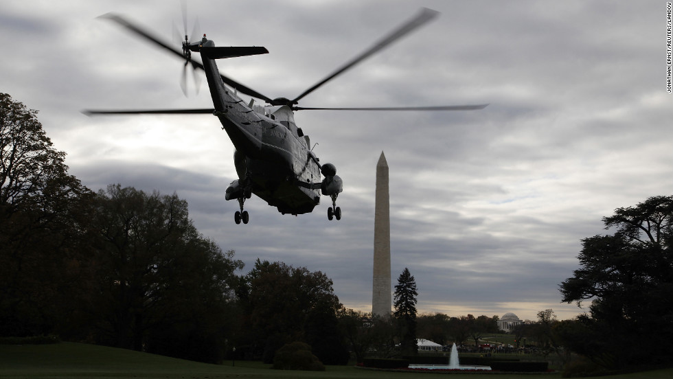 President Barack Obama departs aboard Marine One for travel to campaign events in Ohio, Wisconsin, Iowa and Virginia from the south lawn of the White House on Saturday.