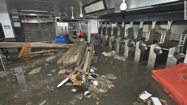 Inside damaged NYC train station