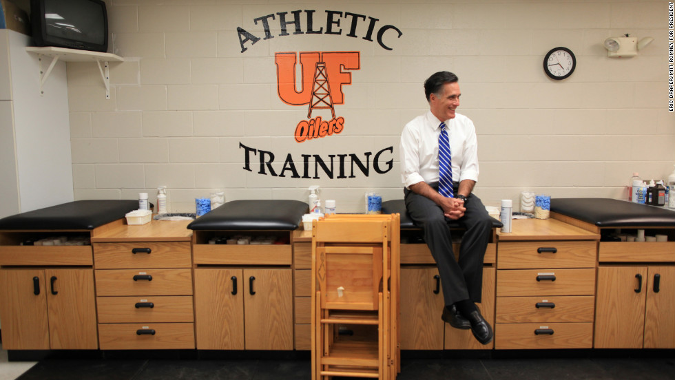 Romney waits backstage inside a training room before a rally at the University of Findlay in Findlay, Ohio, on Oct. 28, 2012.