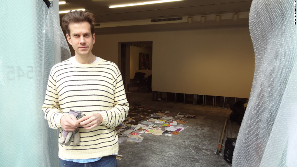 Gallery owner Leo Koenig stands outside his space during repairs.