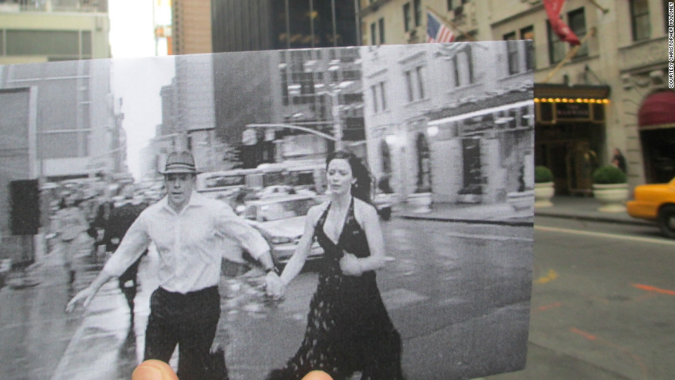 """Matt Damon and Emily Blunt race past The Warwick Hotel at 54th Street and 6th Avenue in Manhattan. Film fans will recognize the hotel from the Jack Lemmon film """"How to Murder Your Wife."""" In the background you can see the Hilton Hotel featured in """"Michael Clayton"""" and """"Malcolm X."""""""