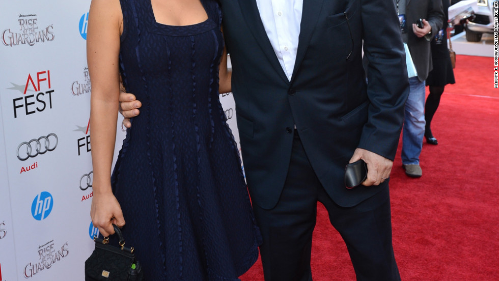 "Alec Baldwin and Hilaria Thomas arrive at the Hollywood premiere of ""Rise of the Guardians."""