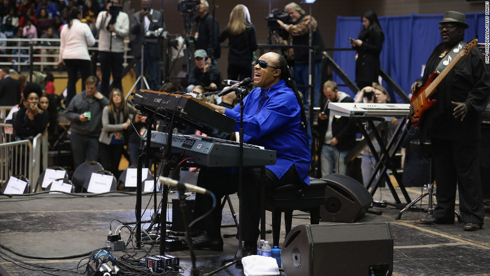Stevie Wonder performs during a campaign rally for President Barack Obama in Cincinnati, Ohio.