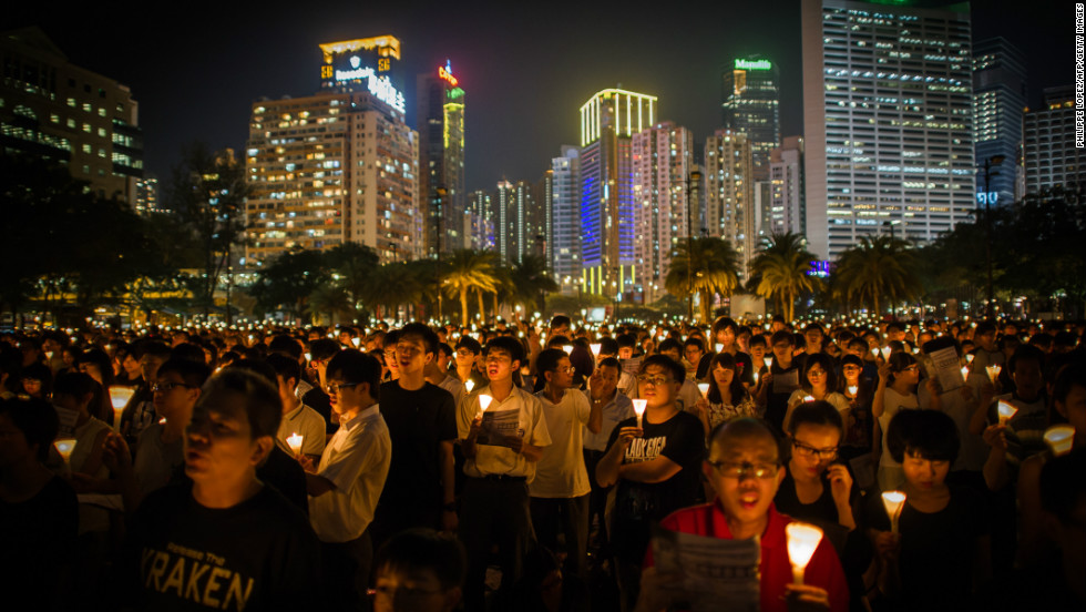 But respect for human rights is the biggest concern for many in the city, as this candlelight vigil on June 4, 2012, held to mark the crackdown on the pro-democracy movement in Beijing's Tiananmen Square in 1989, shows.