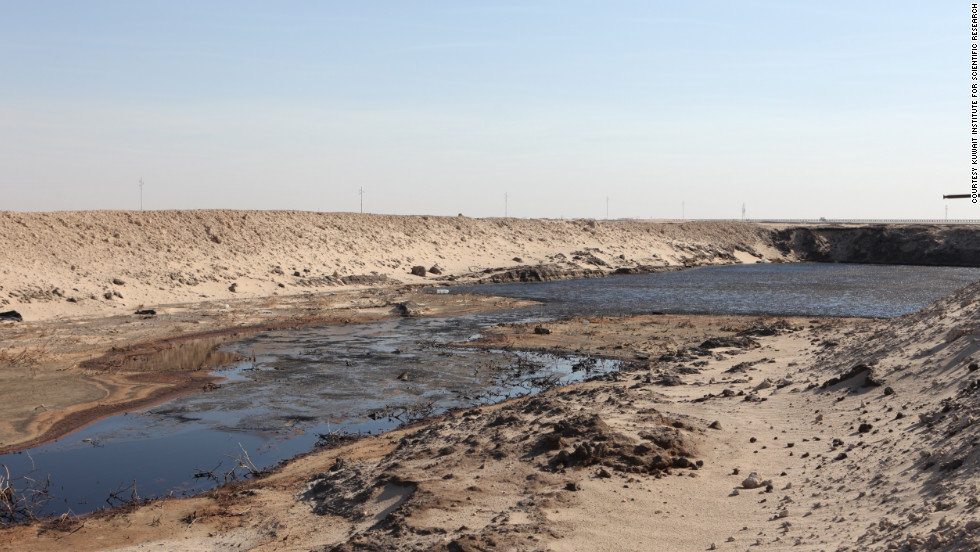 One of the oil lakes, caused by crude oil mixing with the billions of gallons of seawater used to extinguish the oilfield fires, contaminating about 100 square kilometers of Kuwait's desert.