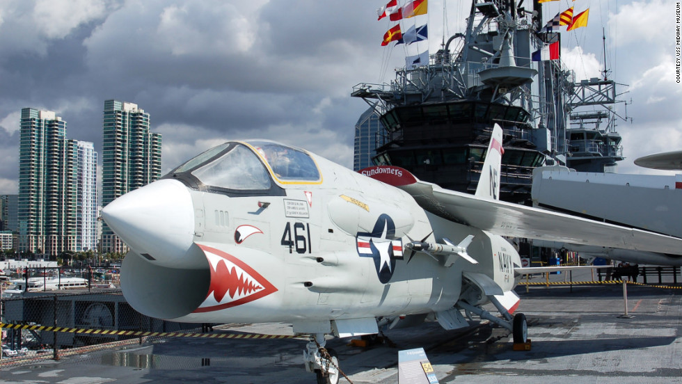 The F-8 Crusader is one of 25 restored aircraft exhibits aboard the Midway. The Crusader was a supersonic fighter which saw a lot of action during the Vietnam War.