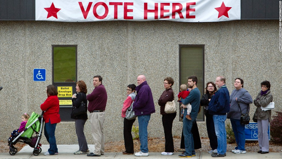 Voters wait outside the Johnson County election office in Olathe, Kansas, on Monday, November 5, the last day of early voting.