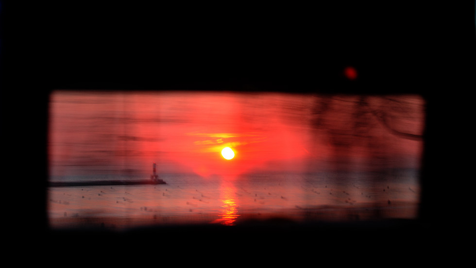 The sunrise was visible through a bus window on Election Day in Chicago.