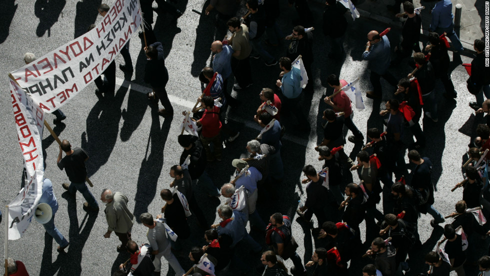 Police estimate that about 35,000 people turned out for a peaceful protest in Athens.