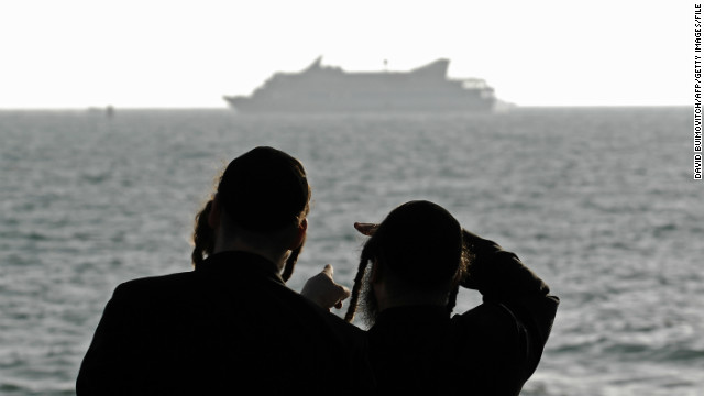 (File photo) Orthodox Jews look at Mavi Marmara off the Israeli coast on May 31, 2010 after it was raided by Israeli navy.