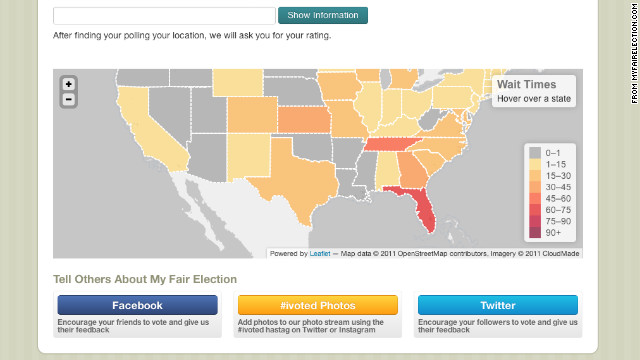 MyFairElection.com aggregates reports of wait times and other issues at polling places.