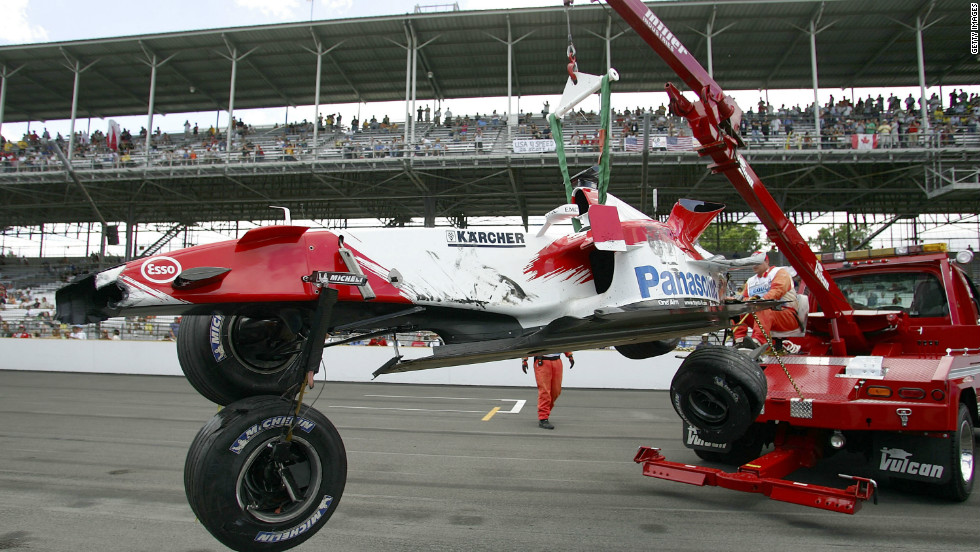 A puncture during practice caused Ralf Schumacher's Toyota to crash at the banked final turn -- the fastest part of the track -- sparking the controversy that led to so few cars starting the race.
