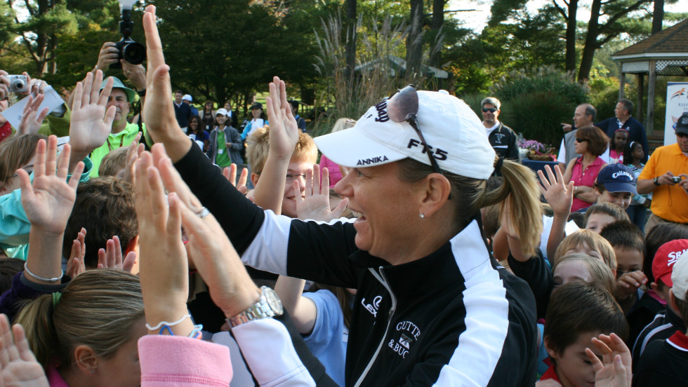 Sorenstam still draws a large crowd whenever she competes in charity golf tournaments.