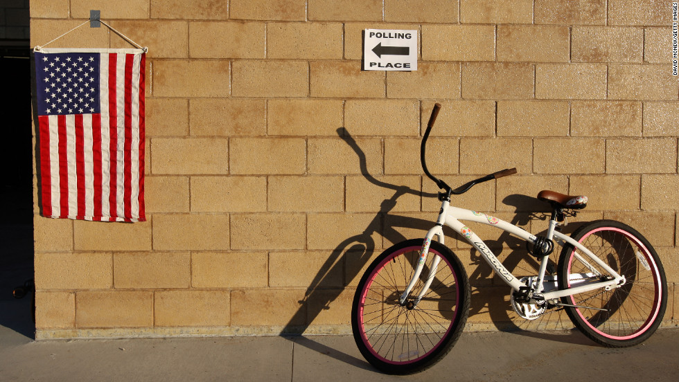 A voter's bicycle leaned against a wall at a lifeguard station, home to a polling place in Hermosa Beach, California.