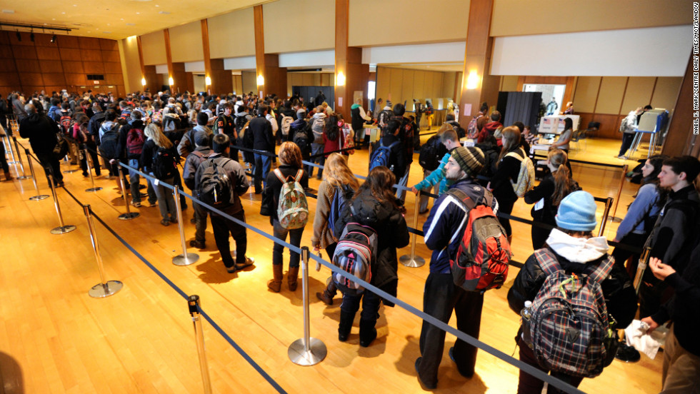Penn State students wait in line to vote in the student union building on the State College, Pennsylvania, campus on Tuesday.