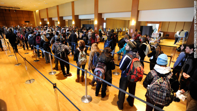 Penn State University students wait in line to vote on campus in State College, Pennsylvania.