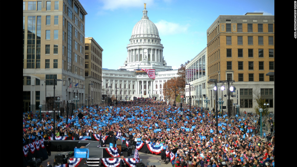 Obama, lower left, speaks during a campaign rally Monday in Madison, Wisconsin.