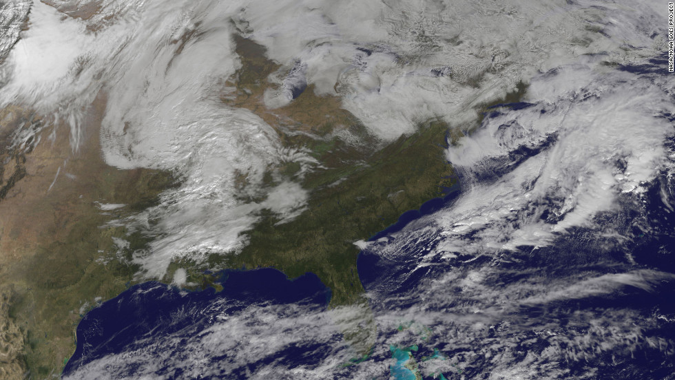 This satellite image shows the storm at 11 a.m. on Monday, November 5.