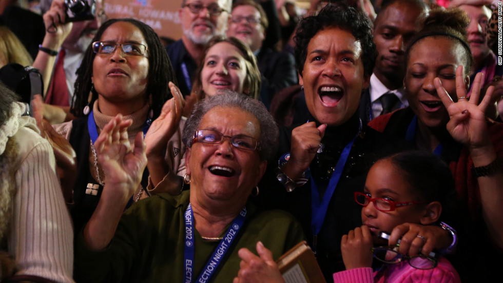 Obama supporters in Chicago, his hometown, shared their joy at the president's projected victory.