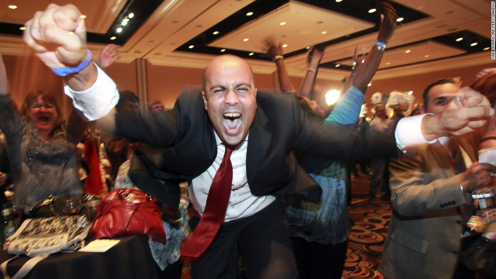 Ajay Narayan cheered in Las Vegas, Nevada, as the election was called for President Obama.
