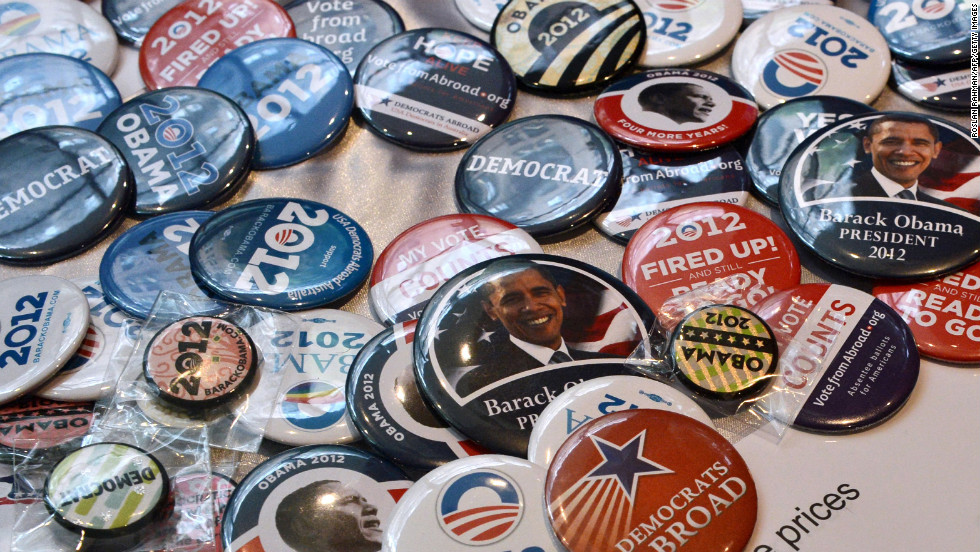 Obama merchandise is displayed for sale during an election viewing party at a bar in Sydney, Australia.