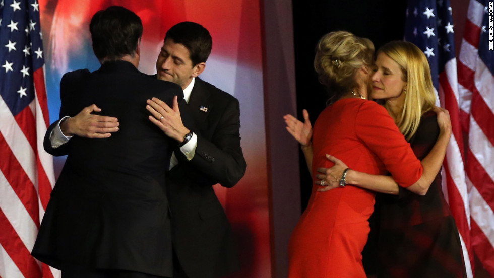 Republican presidential candidate Mitt Romney conceded and hugged his running mate, U.S. Rep. Paul Ryan, of Wisconsin.