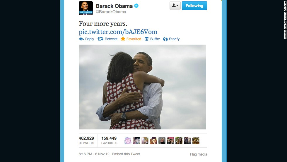 This tweet by President Obama's account, shortly after his re-election on November 5, 2012, became the most retweeted post of all time until it was topped by Ellen DeGeneres's group selfie at the Oscars.