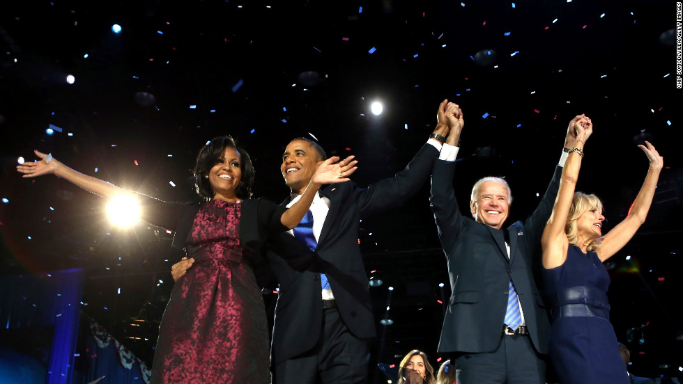 President Barack Obama, first lady Michelle Obama, Vice President Joe Biden and Dr. Jill Biden look ahead to a second term and vowed to fight for equal opportunity for all.