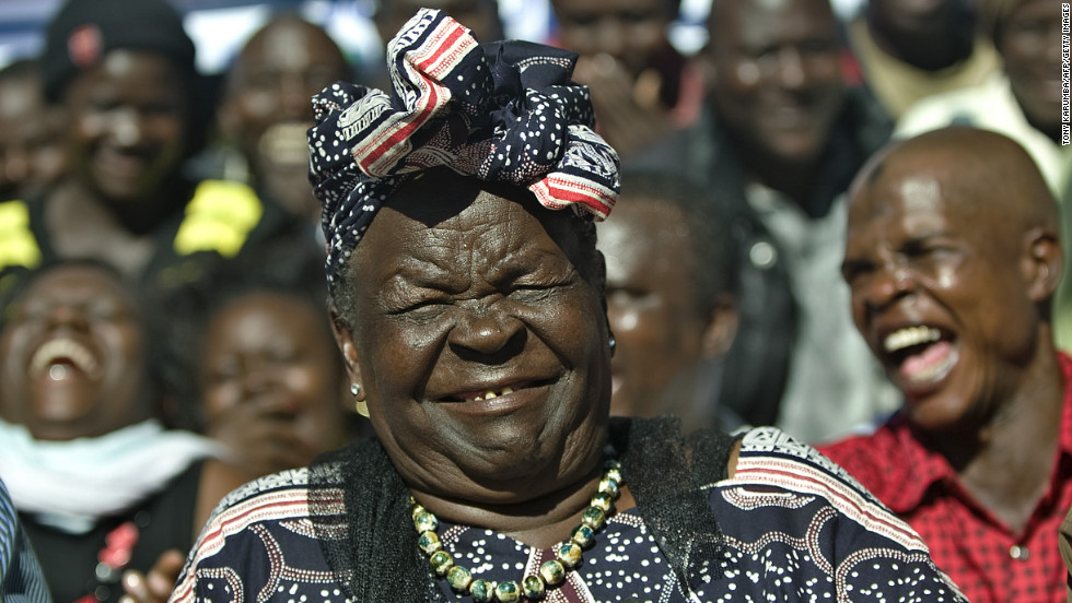 Sarah Obama, step-grandmother to Obama, smiles during a press conference Wednesday in the hamlet of Kogelo in western Kenya after Obama's victory was announced.