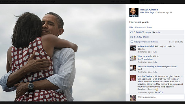 Barack Obama posted this image on his Facebook page Tuesday night.