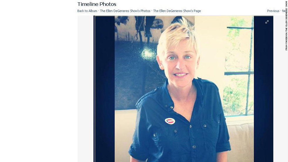 "Ellen DeGeneres wished viewers of her daytime talk show a ""Happy Election Day"" on Facebook November 6, encouraging them to vote."