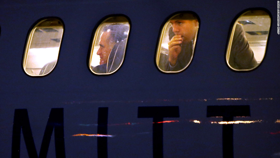Republican presidential candidate Mitt Romney was photographed aboard his campaign plane Tuesday in Boston, Massachusetts.