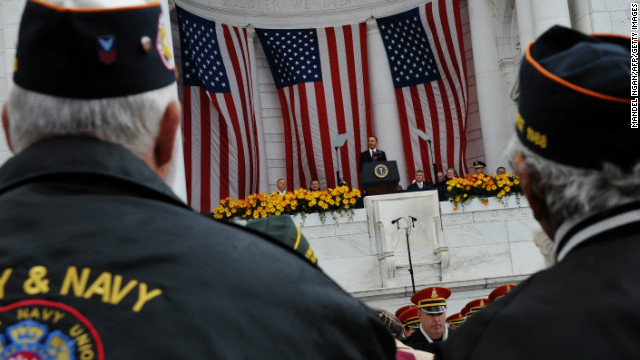 President Barack Obama speaks to veterans at the Memorial Amphitheater at Arlington on Veterans Day 2011.