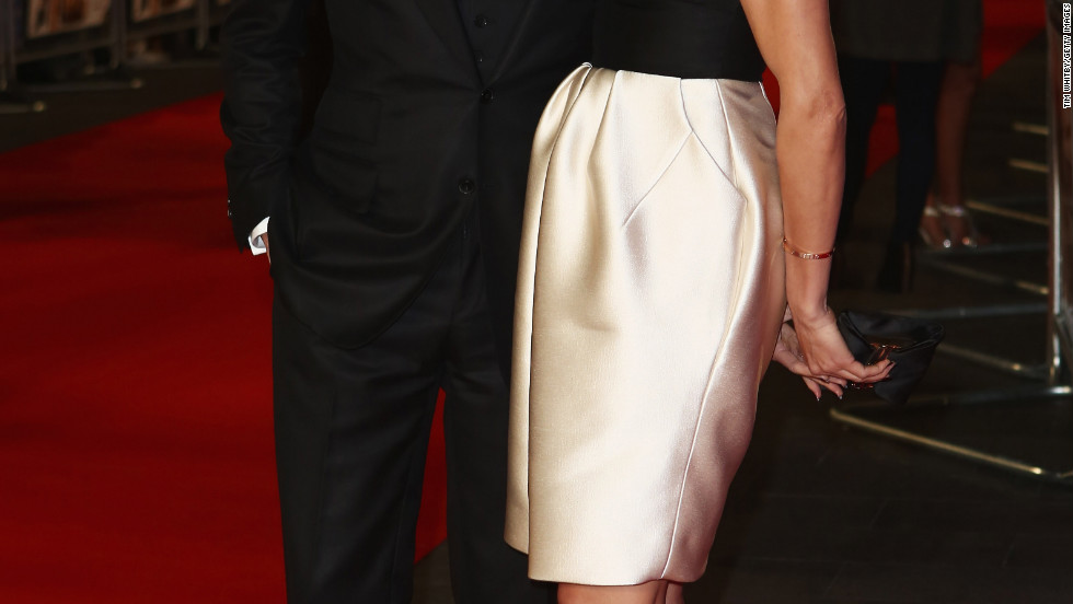 "Cameron Diaz and Colin Firth attend the premiere of ""Gambit"" in London."