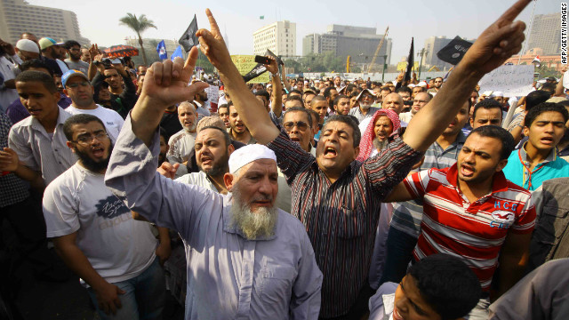 Salafists shout slogans demanding the implementation of the sharia in Cairo's Tahrir Square on November 2, 2012.